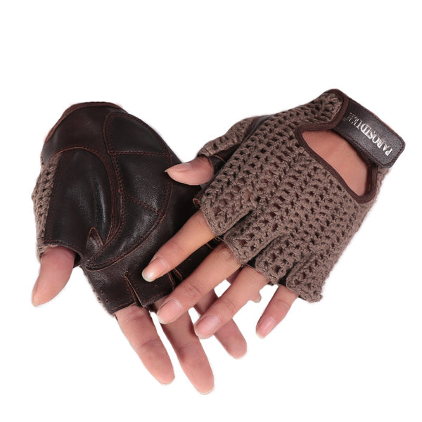 Half Finger Leather Wool Outdoor Riding Gloves