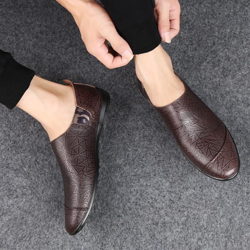 Ultralight Anti-skid Driving Flat Leather Shoes