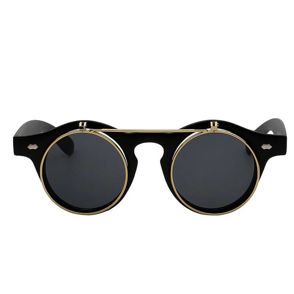 Double-layer Flip Round Retro Sunglasses