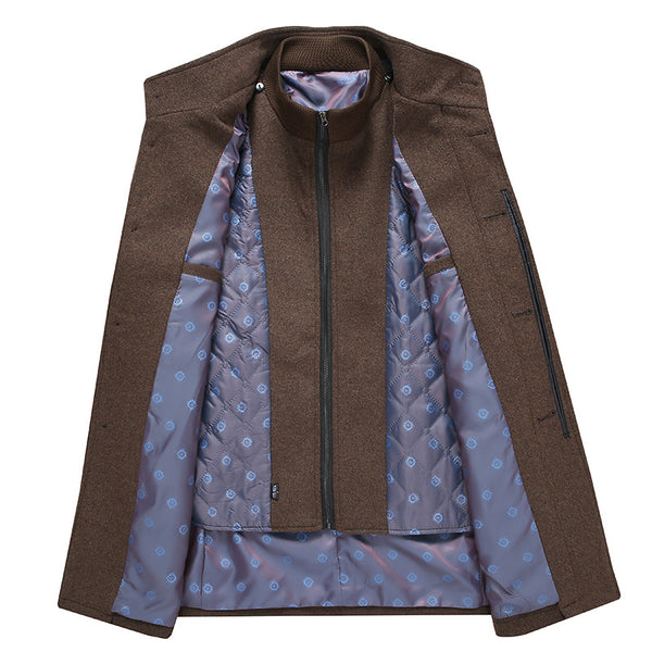 Mid-length Double Collar Detachable Vest Liner Woolen Coat