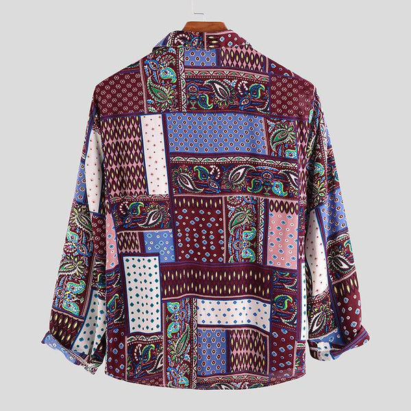Ethnic Vintage Print Long Sleeve Shirt