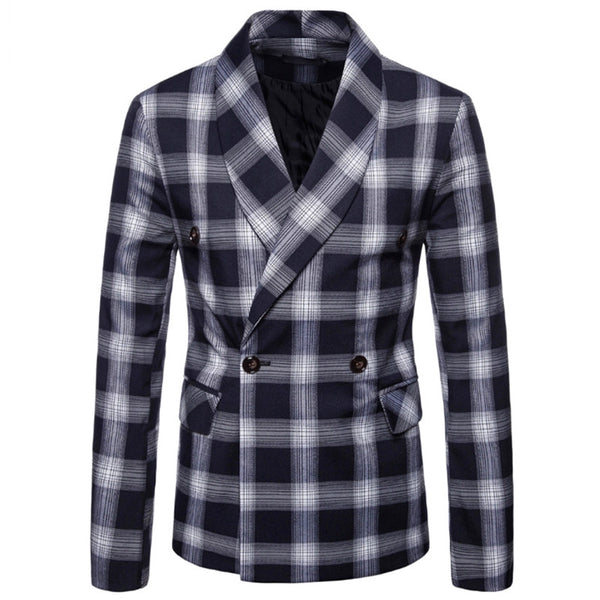 Double Breasted Button Plaid Casual Blazer