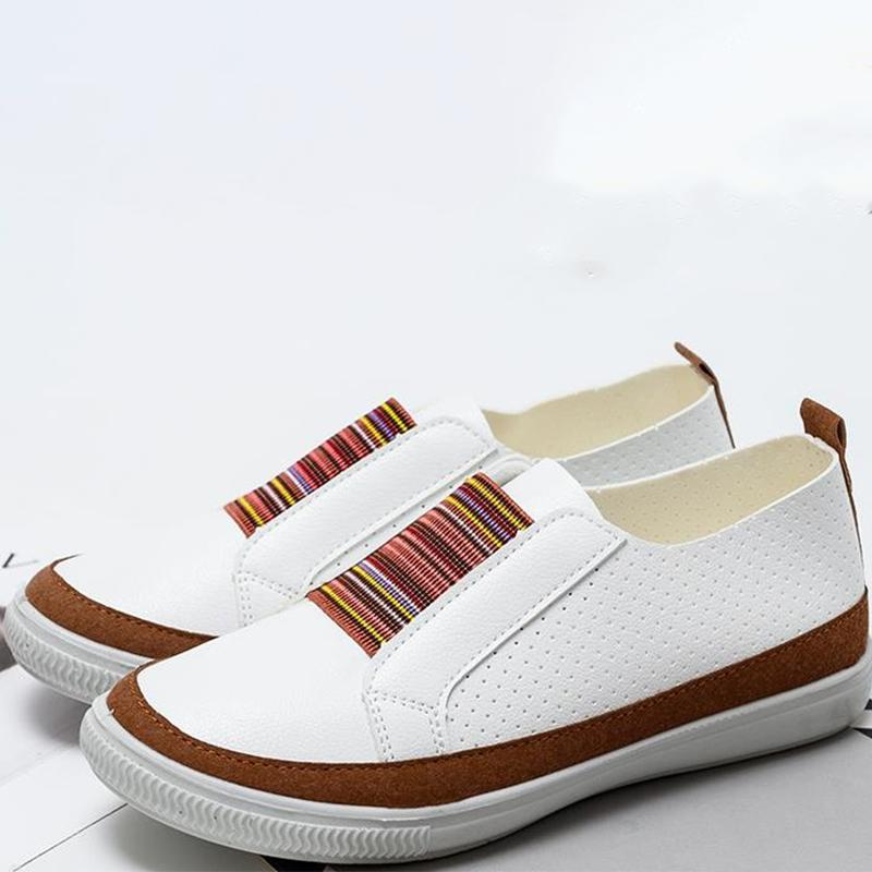 Hand-stitched Striped Breathable Elastic Band Women's Shoes