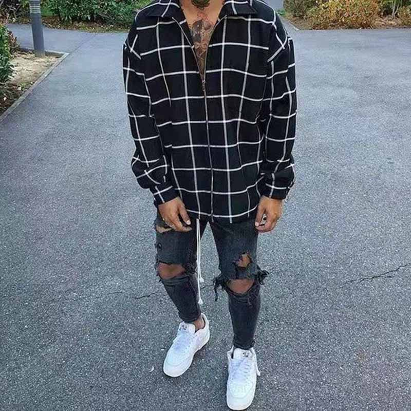 Street Style Men's Plaid Zipper Coat