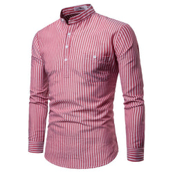 Stand Collar Long Sleeve Hedging Striped Shirt