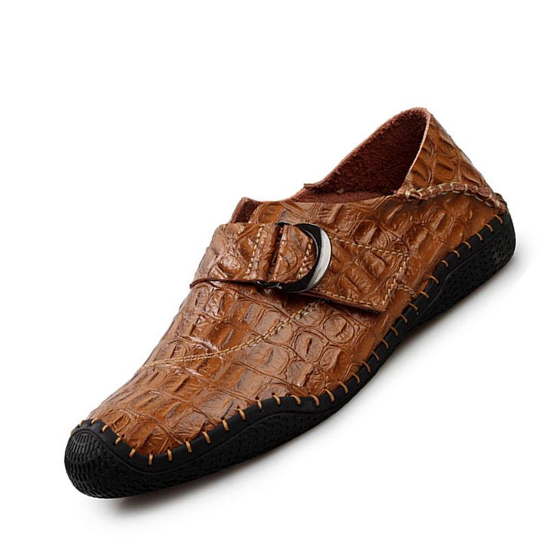 Brand New Crocodile Pattern Cowhide Leather Shoes Men Moccasins Slip On Loafers Casual Patent Leather Men F