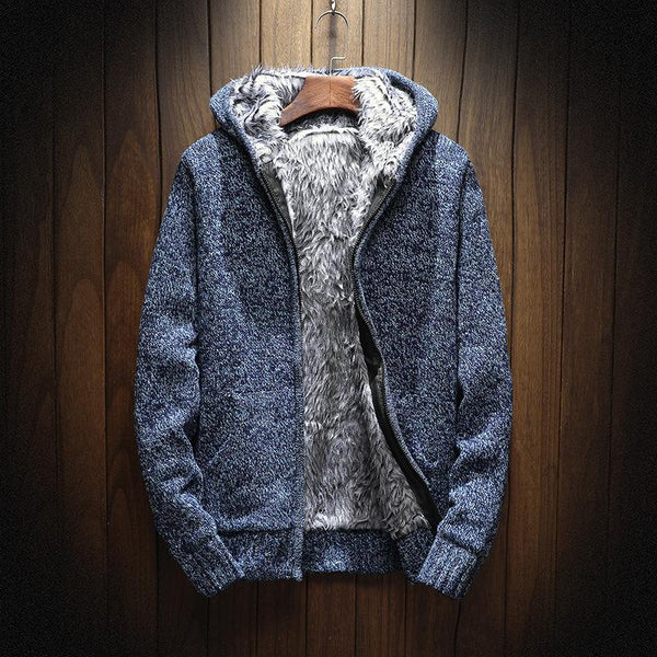 Winter Fashion Knitting Hoodies Warm Thick Men Sweatshirt Zip Male Hooded Fur MC-011