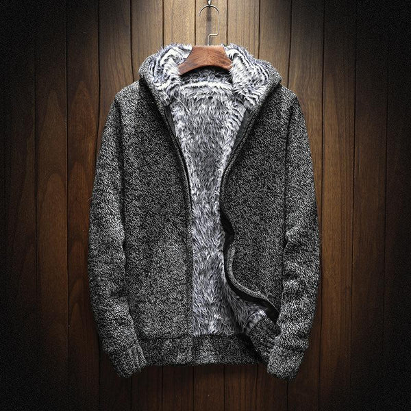 Warm  Men Sweatshirt Zip Fur Hooded