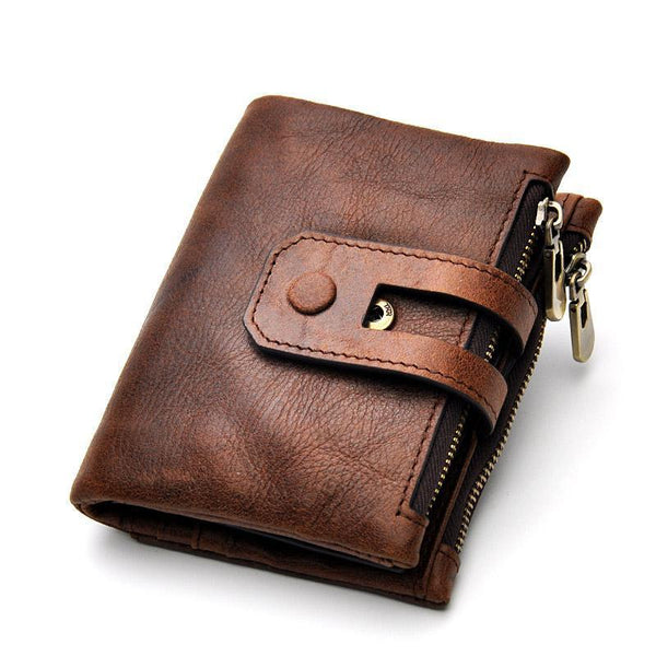 JOYIR Wallet Male Genuine Leather Vintage RFID Short Men Wallets Card Holder Small Coin Purse Men's Purse Male Wallet carteras