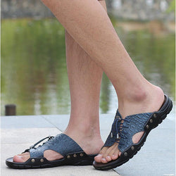 2018 New Men Genuine Leather Holiday Beach Shoes Flip Flops Men's Casual Flat Shoes Sandals Summer Slippers For Men