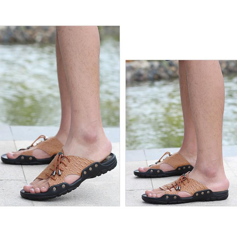 Men Genuine Leather Casual Slippers