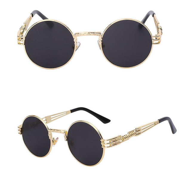 Gothic Steampunk Metal Round Sunglasses