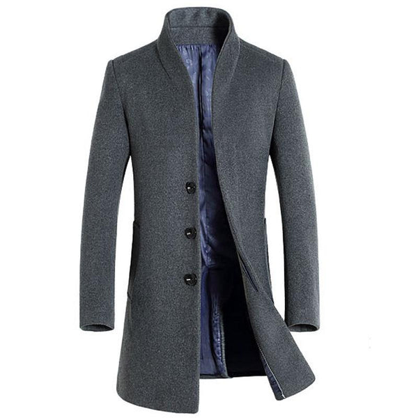 Men's Long Wool Trench Coats 2017 Winter Thicker Trench Coat Men Single Breasted Pea Coat Overcoat Casual Slim Fit Windbreaker