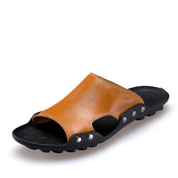 Men Breathable Genuine Leather Slippers