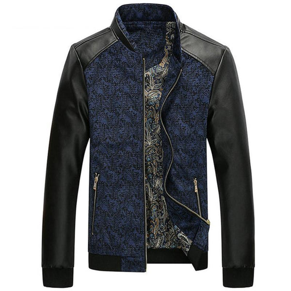 PU Leather Patchwork Men's Jackets 4XL Autumn Fashion Coats Men Outerwear Stand Collar Male Clothing Slim Fit SA332