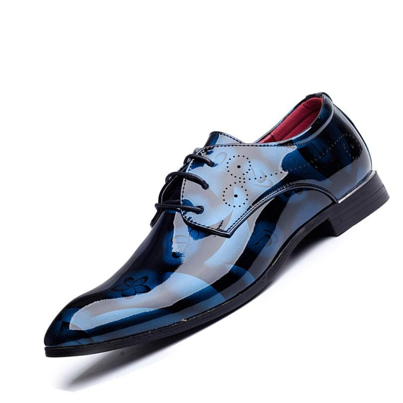 Plus Size Men Formal Dress Shoes Luxury Patent Leather Pointed Toe Floral Pattern Leather Shoes Men Oxford Shoes