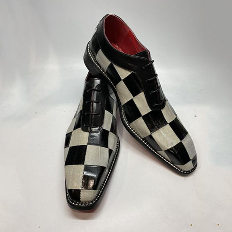 Men's Handmade Leather Patchwork Dress Shoes