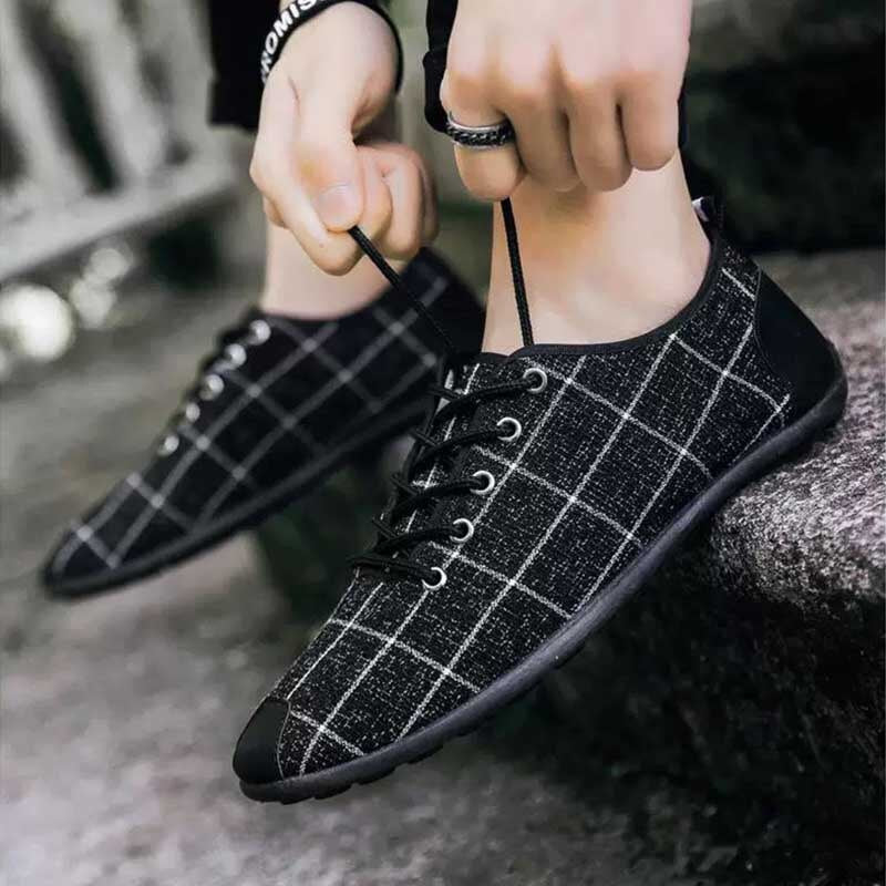 Lazy Low-top Breathable Plaid Casual Shoes