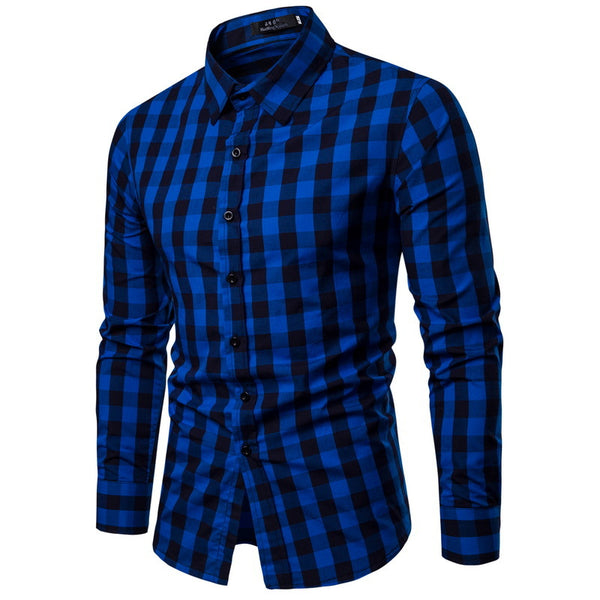 Plaid Single Breast Slim Shirt