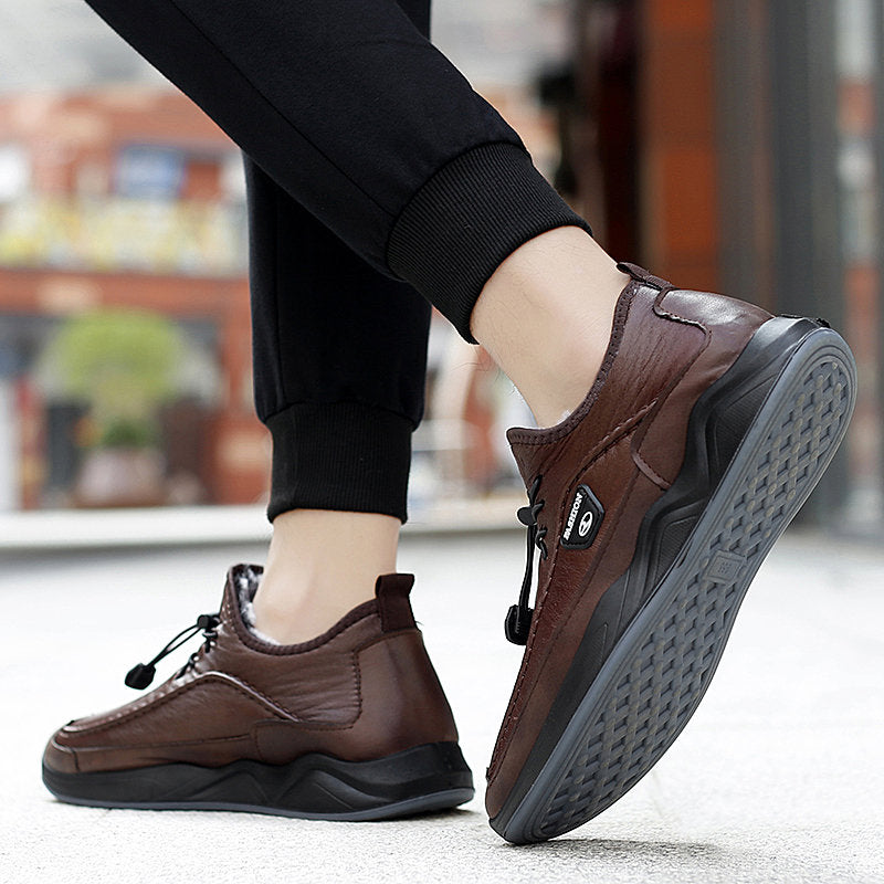 Plush Lining Warm Non Slip Casual Leather Shoes