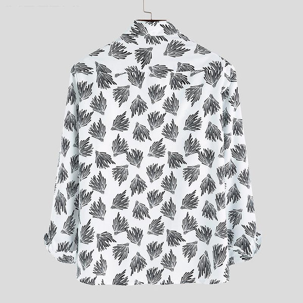 Fashion Leaf Print Casual Long Sleeve Shirt