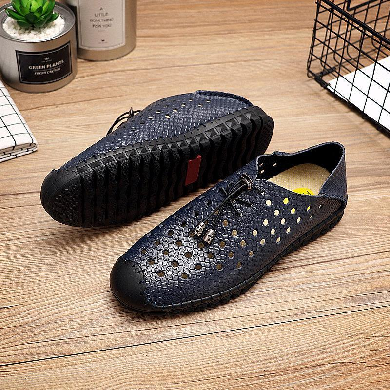 Hand Stitching Elastic Laces Hollow Breathable Leather Shoes