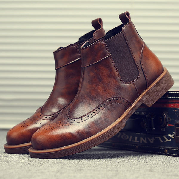 British Luxury Fashion Brogue Carved Bullock Boots