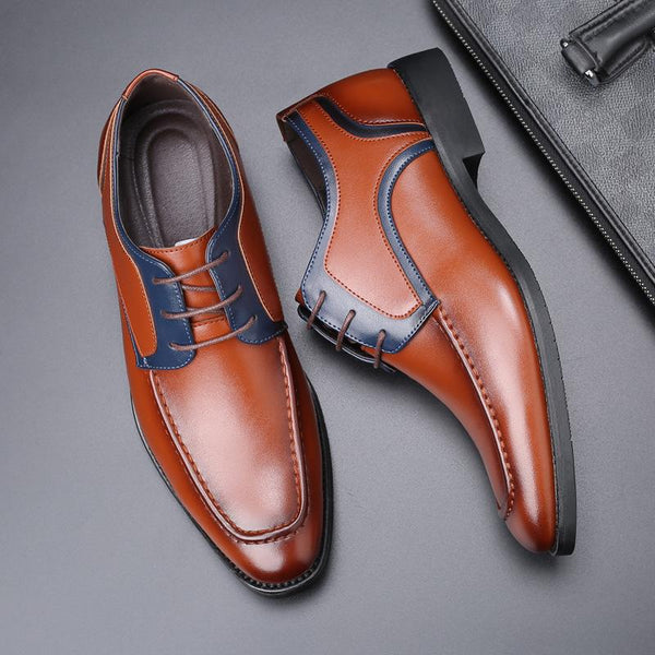 Men's British Lace-Up Color Matching Shoes