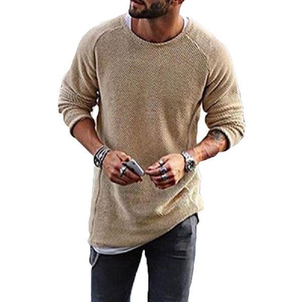 Knit Solid Color Long-Sleeved O-Neck Casual T-shirt