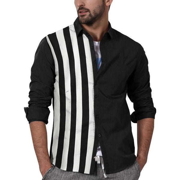 Fashion Striped Patchwork Wild Lapel Shirt