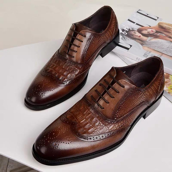 Men's Crocodile Leather Lace-Up Flats Dress Shoes