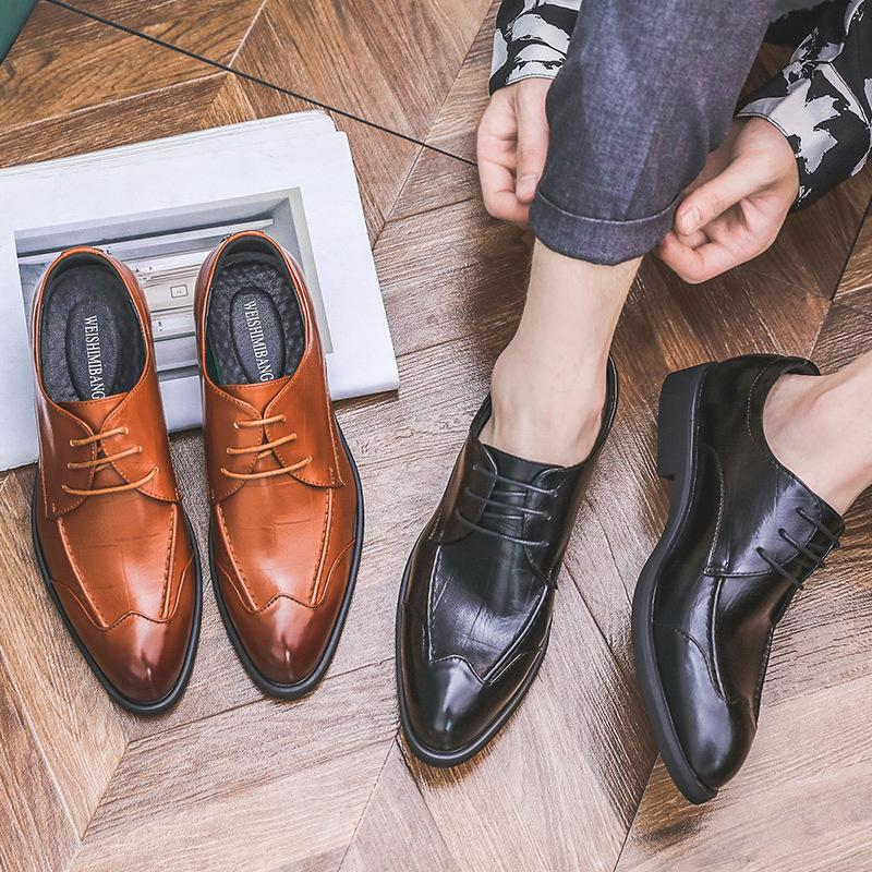 New British Business Pointed Leather Shoes