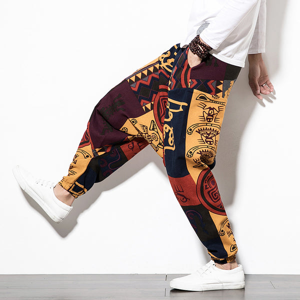 New Chinese Style Cotton and Linen Casual Pants