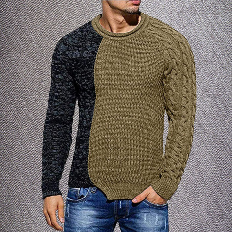 Casual Men's Round Collar Patchwork Sweater