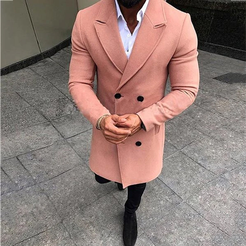 Fashion Solid Color Buttoned Coat