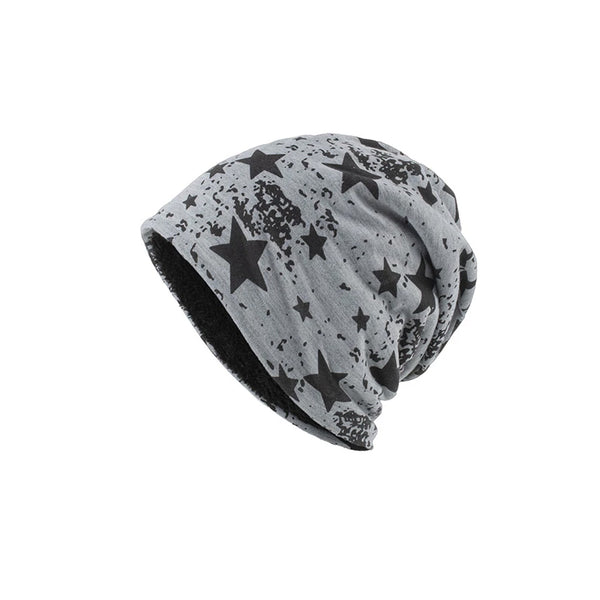 New printed five-pointed star plus fleece hat
