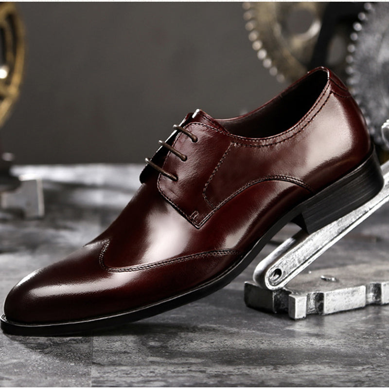 British Dress Shoes Men's Leather Shoes-Wine-red