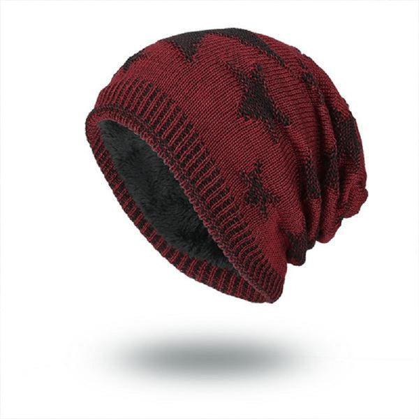 Casual Hip-hop Knitted Plush Warm Star Pattern Beanie