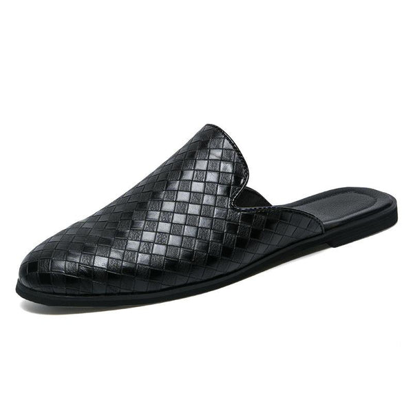 Fashionable Breathable Woven PU Leather Slippers