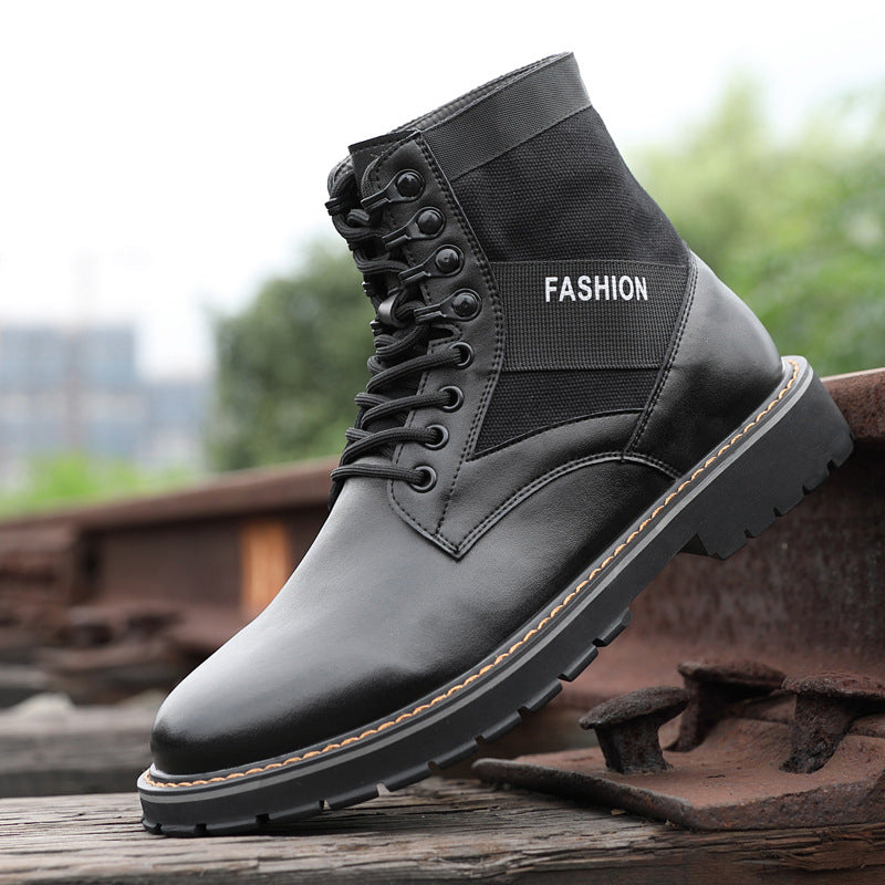European and American High-top Leather Short Military Boots