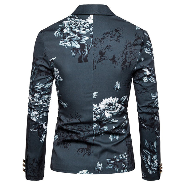 Gentleman Business Slim Floral Suit Coat