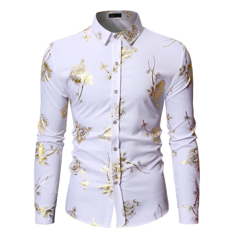 New Lapel Floral Print Single-Breasted Long Sleeves Men's Shirt