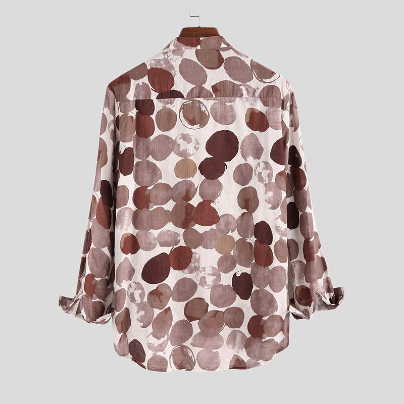 Trendy Cotton Linen Casual Polka Dot Shirt