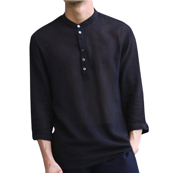 Solid Color 3/4 Sleeve V-neck Linen Shirt