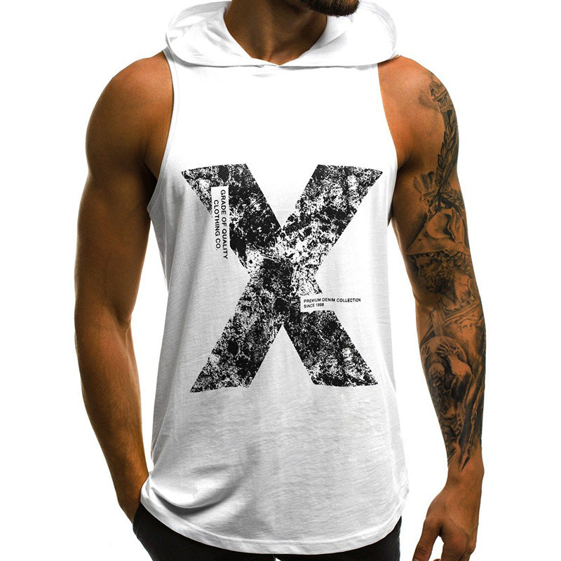 New Letter Print Hooded Sleeveless Tank Top