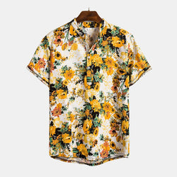 Vacation Style Loose Printed Stand Collar Short Sleeve Shirt