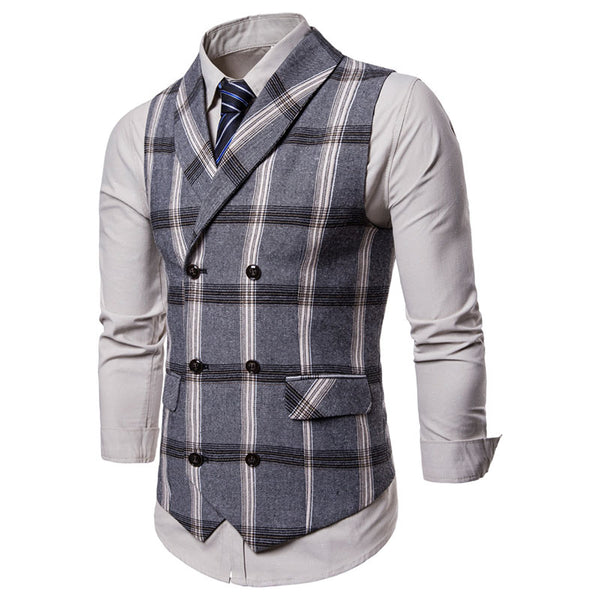 Double-breasted Plaid Men's Casual Suit Vest