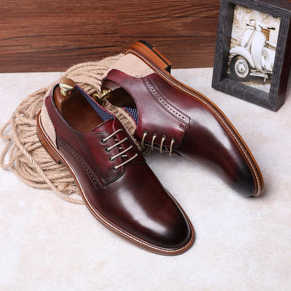 New Genuine Leather Color Matching Banquet Shoes