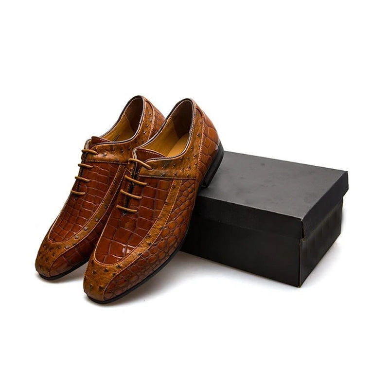 Italian Leather Brown Luxury Carved Oxford Shoes