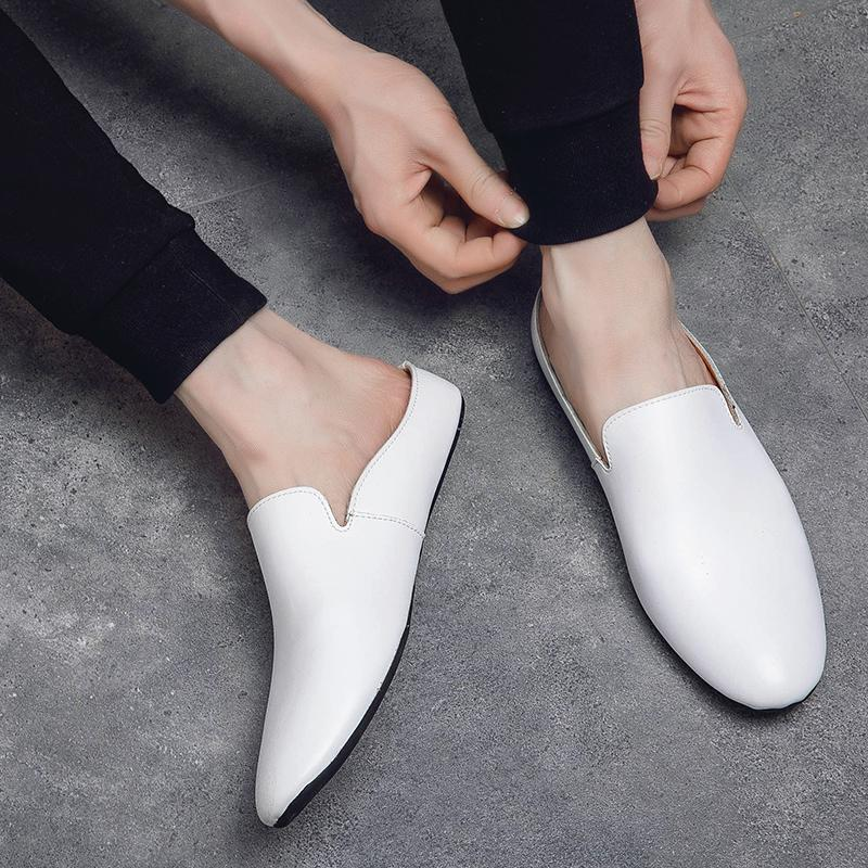 Casual Breathable Non-slip Leather Flat Slippers